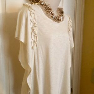 CeCe Tops - CeCe Top Creamy White Fluttering Ruffle Sleeve NWT